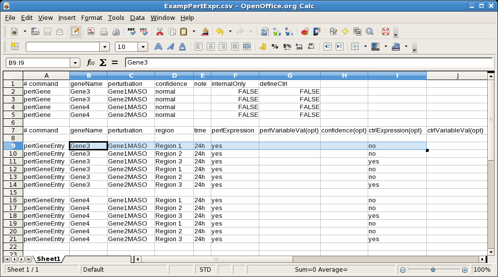 Perturbed Expression CSV Import