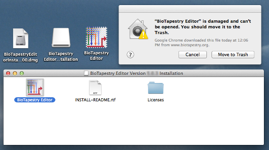 Mac Complains about BioTapestry Download